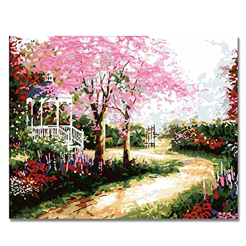 Peaches Framed Canvas - Fengtuo DIY Oil Painting Paint by Number Kit Canvas Painting Hand Colouring Decorative Picture- Beautiful Path by Peach Design 16