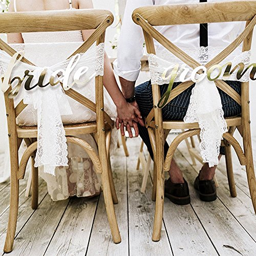 Bride and Groom Gold Card Chair Signs Wedding Decoration (Bride And Groom Signs)