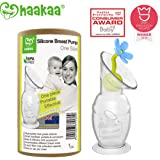 Haakaa Silicone Breast Pump with Suction Base and Flower Stopper 100% Food Grade Silicone BPA PVC and Phthalate Free (5oz/150ml) (150ml with Blue Stopper)