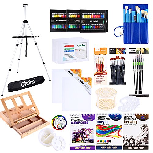 Artist Paint Set, Ohuhu 128Pcs Artist Set W/Table-Top Field Easels, Painting Brushes, Paint Tubes Pads Canvas Boards Knife for Oil Watercolor Acrylic Painting Sketch, Back to School Art Supplies by Ohuhu