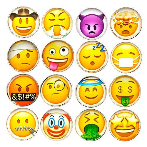 DMIDEA 16 Pcs Refrigerator Magnets 3D Emoji Fridge WhiteBoard Cute Dry Erase Board Magnetic Lockers for School Home Office Kitchen Decorative Fun Cartoon Smile Face Gift (Smile)