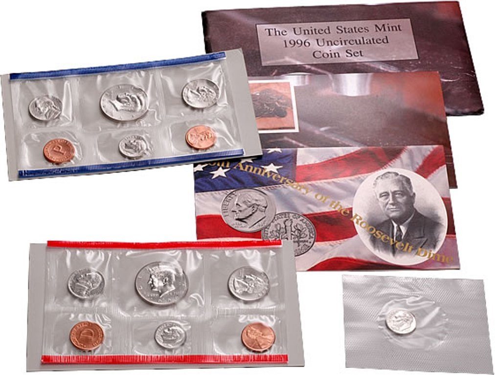 1996 US Mint Uncirculated P /& D 10 Coins Set with W Dime
