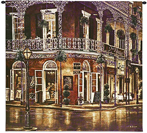 Jazz du Jour by Betsy Brown | Woven Tapestry Wall Art Hanging | New Orleans French Quarter Architecture Evening Street Music | 100% Cotton USA Size 31x31