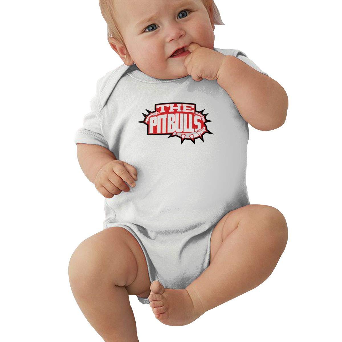 Dfenere Pitbull Dog Logo Retro Newborn Baby Short Sleeve Bodysuit Romper Infant Summer Clothing Black