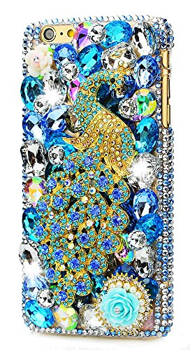 (STENES iPod Touch 5/6th Case - [Luxurious Series] 3D Handmade Shiny Crystal Sparkle Bling Case with Retro Bowknot Anti Dust Plug - Pretty Crystal Peacock Rose Flowers/Blue)