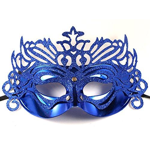 Women's Laser Cut Metal Venetian Masquerade Crown Mask - Crown Venetian