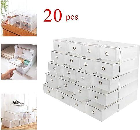 Homgrace 20 Cajas para Zapatos Transparente Plástico, Caja Guardar ...
