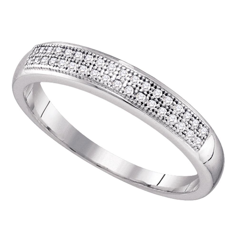 Womens Diamond Two Row Wedding Band Solid 10k White Gold Anniversary Ring Round Pave Set Fancy 1/10 ctw