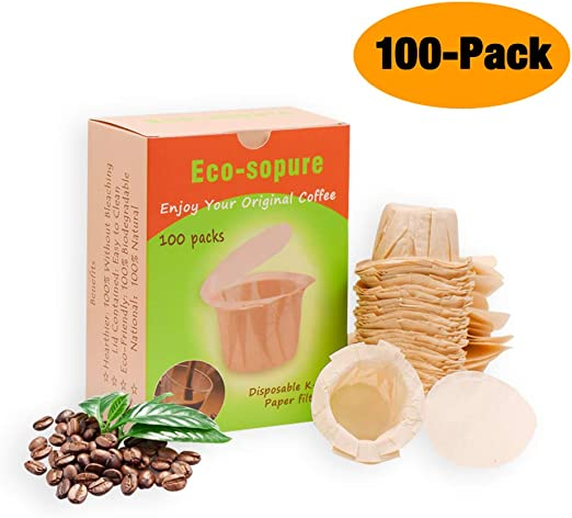 White, 200 CAPMESSO Disposable Coffee Filters with Lid Keurig Paper Filter for Reusable Single Serve Pods Compatible with Keurig 2.0 /& 1.0 Coffee Maker