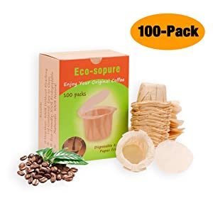 Unbleached K cup Disposable Paper Filters with Lid for Keurig Reusable K Cup Filters,Eco-Sopure Paper Filters for Keurig Coffee Maker Brewer, Fits All Keurig Single Serve Filter Brands (100)