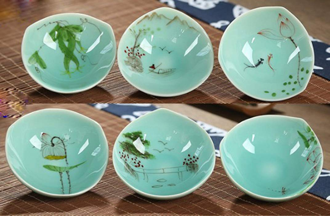 6pcs Chinese Longquan Celadon Porcelain Tea Cup All Hand Painting