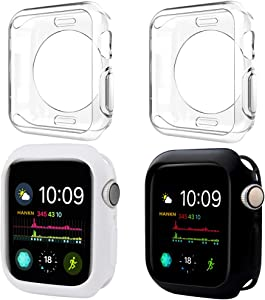 HANKN 4 Pack Case for Apple Watch Series 3 2 1 42mm, Soft TPU Cover Shockproof Protective Smartwatch Bumper for Iwatch (Black+White+Clear+Clear, 42mm)