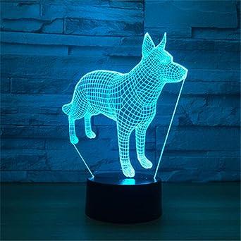 Iluminación infantil nocturna Creativa cabeza de lobo en 3D con ...
