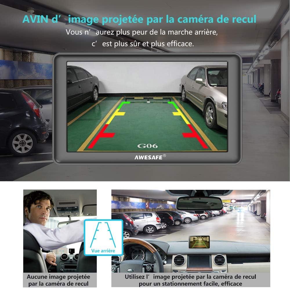 AWESAFE GPS Voiture Auto Europe 7 Pouces Ecran Tactile Cartographie Europe 48 /à Vie Mise /à Jour Gratuite /à Vie et Pare-Soleil