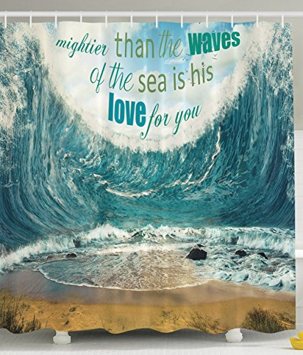 Ambesonne Love Quotes Decor Seashore Shower Curtain Symbols of Love Mightier Than the Waves of the Sea Is His Love for You Bathroom Decorations Blue White Teal Sand by Ambesonne