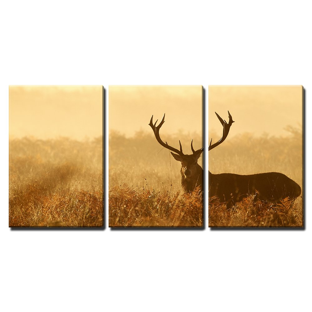 Red Deer Stag Silhouette x3 Panels - Canvas Art | Wall26