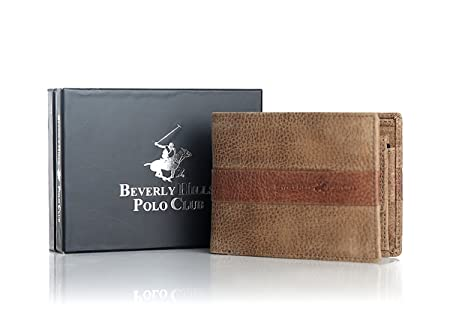 BEVERLY HILLS POLO CLUB - Cartera para hombre beige beige: Amazon ...