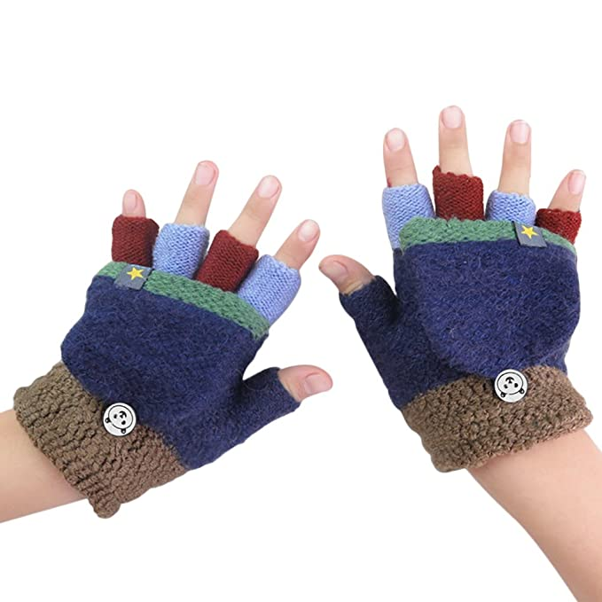 YLucky Toddler Kids Winter Gloves with Fingers Cover Flip Top Knitted Magic Gloves for Cold Weather Colorful Stretchable Full Finger Wrist Mittens Warm for 3-7 Years Boys Girls Birthday