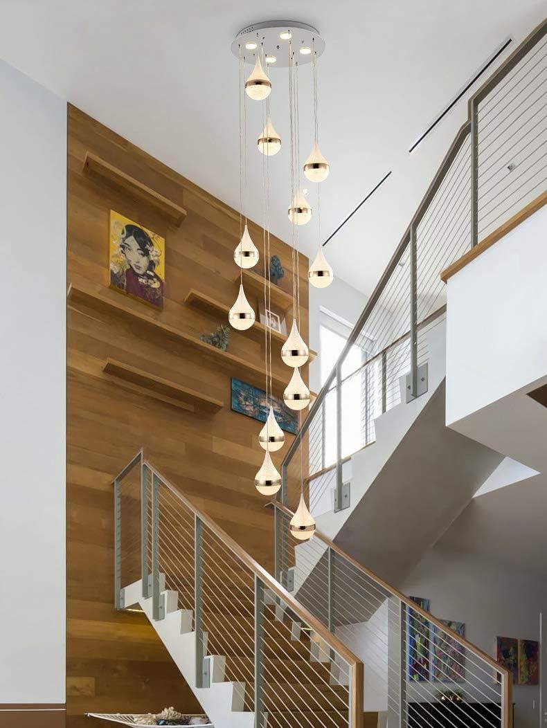 Escalera Pasillo Lámpara colgante Luz colgante de techo bola Moderno Creativo LED Blanco cálido Sala de estar Comedor Araña Loft Hall Hotel Tienda Decoración Lámpara,12lights: Amazon.es: Iluminación