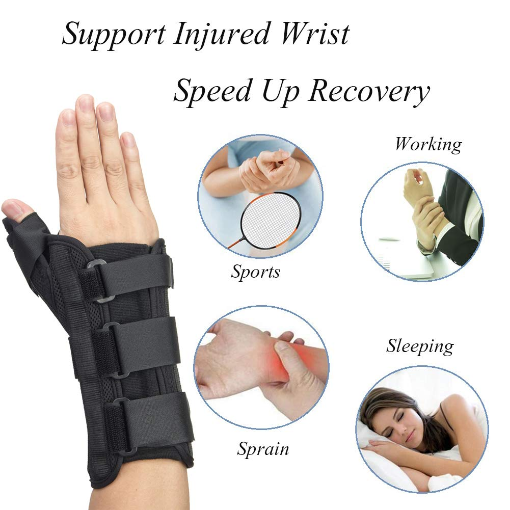 Thumb & Wrist Spica Splint, Adjustable Supportive Wrist Braces for Arthritis, Carpal Tunnel, Soft Tissue Injuries & Trigger Thumb Immobilizer Medium-Left by Medibot (Image #6)