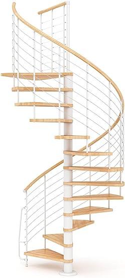 Escalera de caracol de madera mobirolo Vogue Natural y blanco varios tamaños: Amazon.es: Bricolaje y herramientas