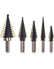 HYCLAT 5pcs Titanium Step Drill Bit, Hss Cobalt Multiple Hole 50 Sizes, High-Speed Metal Steel Step Drill Bit Set with Aluminum Case or Canvas Packing