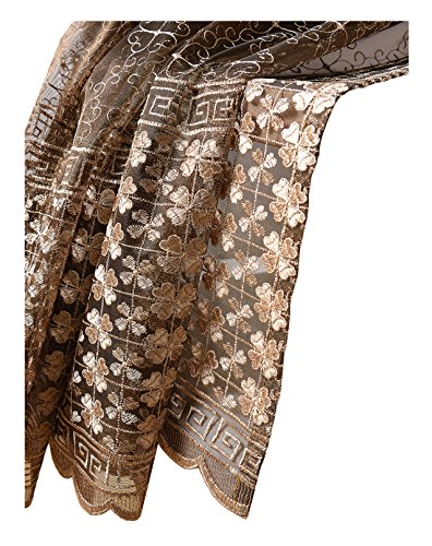 Aside Bside Clovers and Maze Embroidered Rod Pocket Top Fantasy Design Sheer Curtains Transparent Voile (1 Panel, W 52 x L 84 inch, Coffee 16) -128151952848516C1PGC by Aside Bside