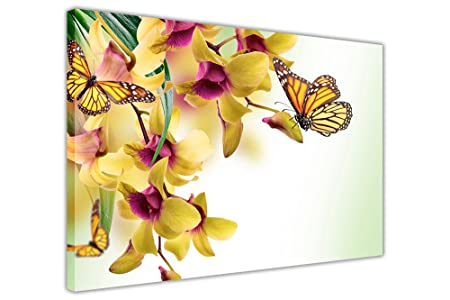 Canvas It Up YELLOW FLOWERS AND BUTTERFLY ON FRAMED CANVAS PICTURES ...