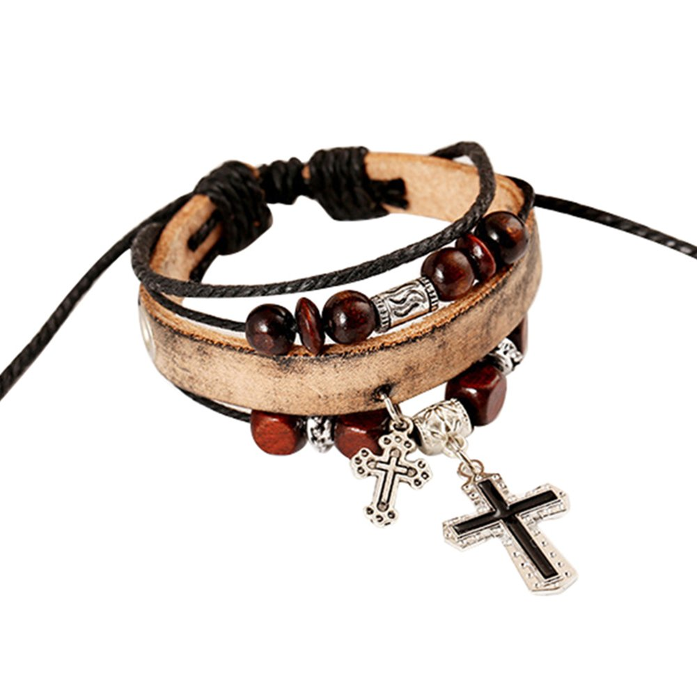 Wintefei Vintage The Cross Pendant Multilayer Beads Faux Leather Braid Bracelet Bangle - Khaki