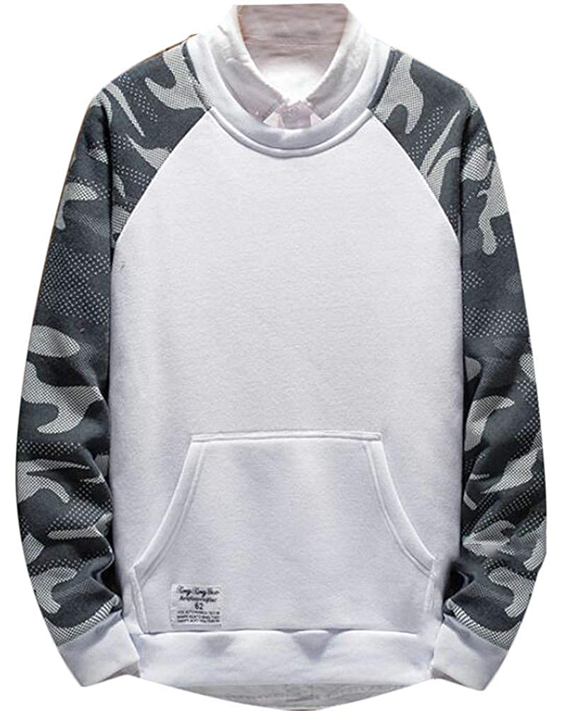Joe Wenko Men Fleece Solid Zipper Long Sleeve Pullover Hooded Sweatshirts