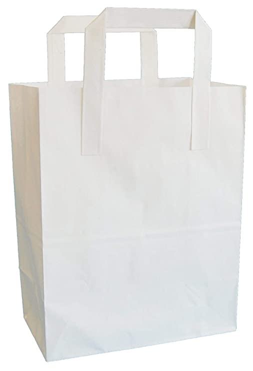 Thepaperbagstore – Bolsas de papel (color blanco, color blanco 180x220x76mm (7