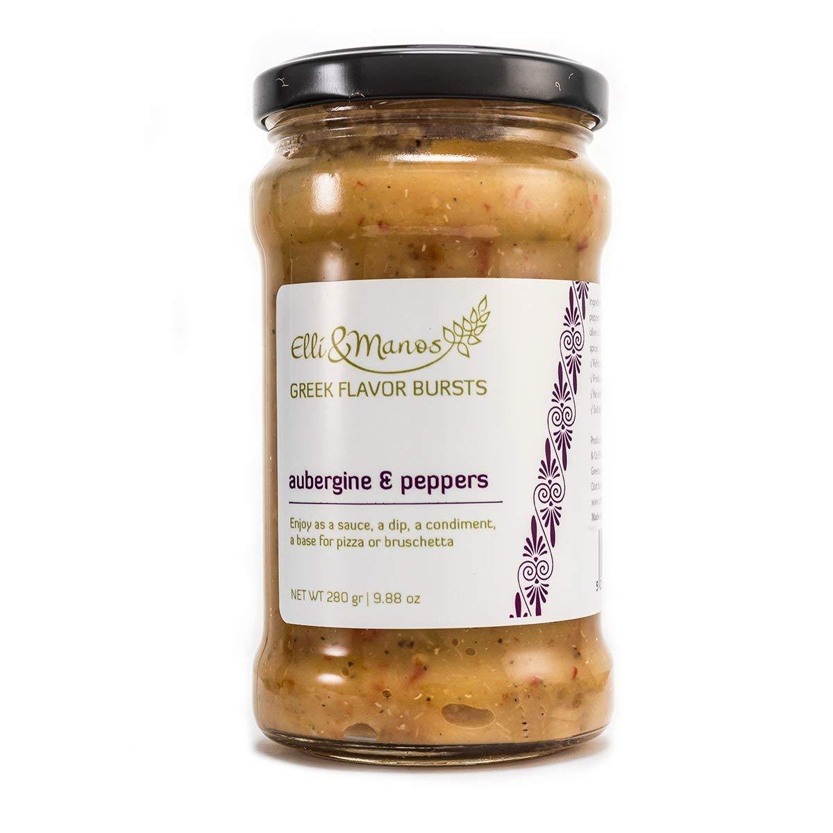 Elli & Manos Greek Flavor Bursts - Aubergine (Eggplant) & Peppers - 280gr/9.88oz - highly concentrated spread/veggie dip by Elli & Manos