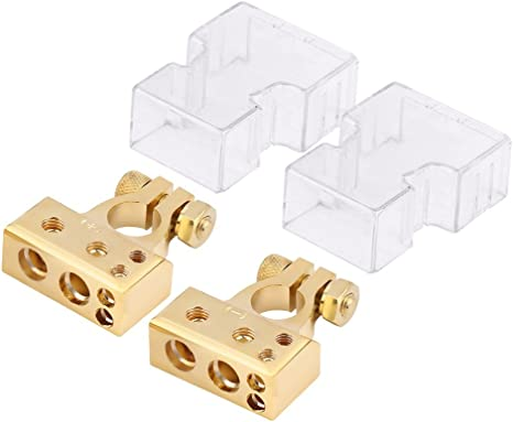 2x Car Battery Terminal Positive /& Negative Gold 4//8 Awg Gauge Plated Clamps
