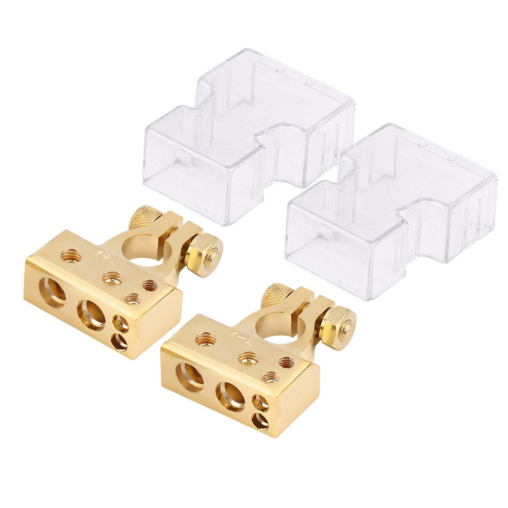 Battery Terminal Clamp, Positive Negative Battery Terminals Connector Protection Cover 0/1 2 4 8 AWG Gauge(Gold) Dilwe