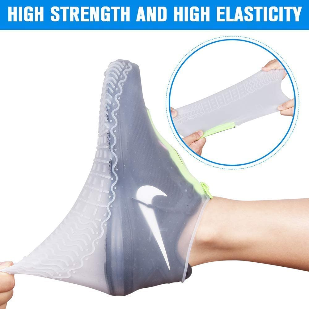 Upgrade Silicone Shoe Covers with Zipper No-Slip Silicone Rubber Shoe Protectors for Men and Women Emoly Reusable Silicone Waterproof Shoe Covers XL, White