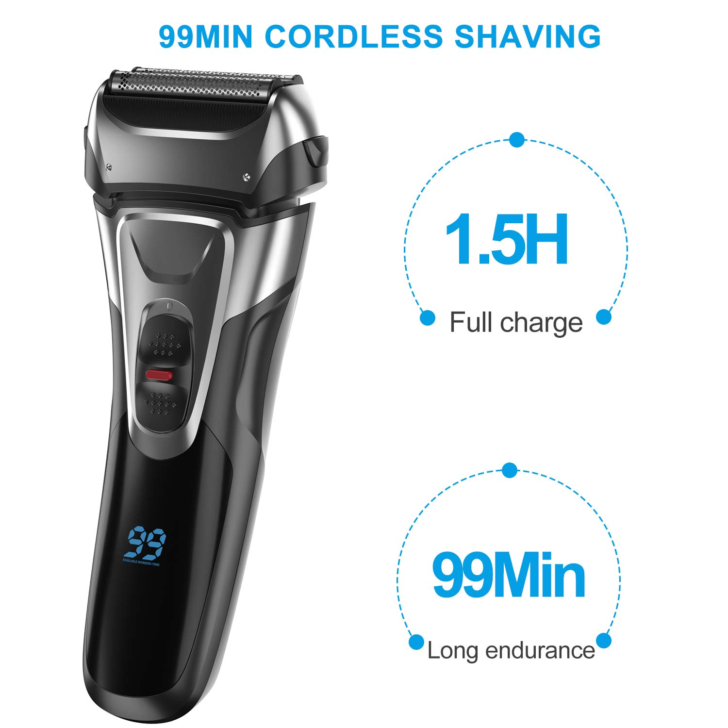 Electric Shaver with Trimmer for Men, IPX7 Waterproof Wet Dry Cordless Razor, Charge 1.5H Work 99 Mins, Plug and Play, USB Quick Rechargeable LCD Display Battery