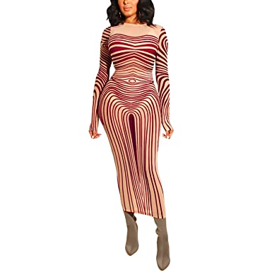 63da96eff9c6 Sexy Stripe Long Sleeve Mock Neck Bodycon Maxi Dress Clubwear Burgundy S