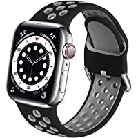 Muranne Compatible with Apple Watch Bands 38mm 40mm for Men Mens, Soft Silicone Wristband Replacement Sport Loop…