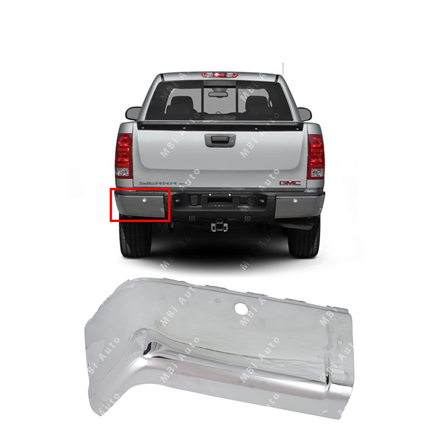 Chrome GM1104147 BUMPERS THAT DELIVER Steel Rear Driver Side Bumper End for 2007-2013 Chevy Silverado GMC Sierra 1500 2500 3500 07-13