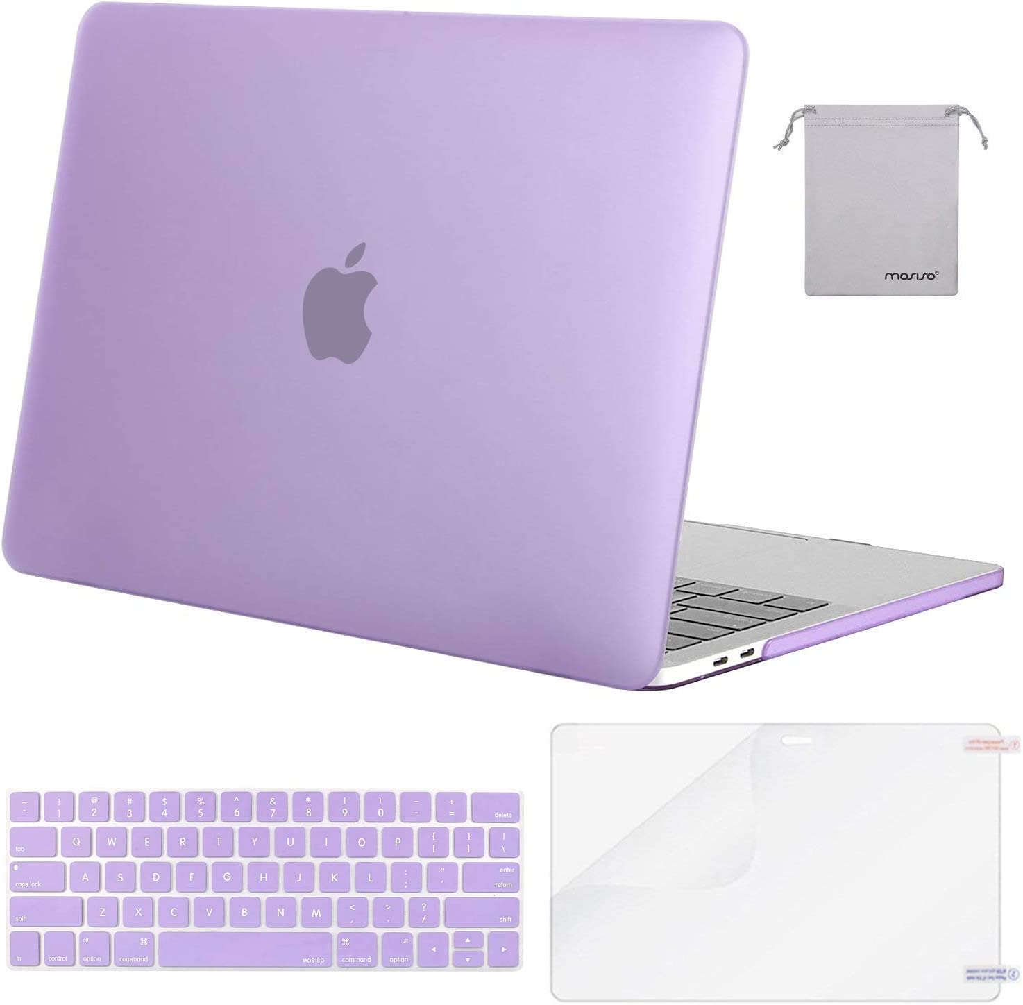 MOSISO MacBook Pro 13 inch Case 2019 2018 2017 2016 Release A2159 A1989 A1706 A1708, Plastic Hard Shell Case&Keyboard Cover&Screen Protector&Storage Bag Compatible with MacBook Pro 13, Light Purple