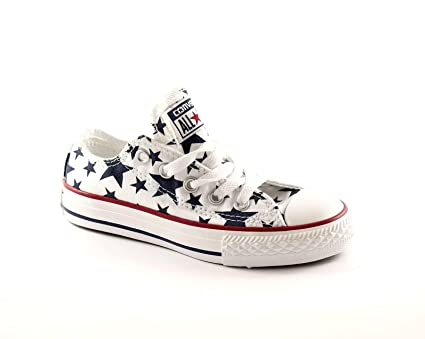 a8225271fceeaf CONVERSE 648364C 27/34 white star ct print scarpe bambina all star hi  stelle unisex: Amazon.it: Scarpe e borse