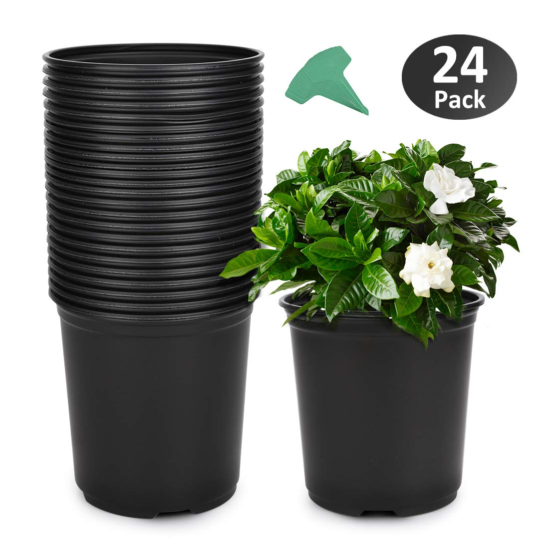 GROWNEER 24-Pack 0.7 Gallon Flexible Nursery Pot Flower Pots with 15 Pcs Plant Labels, Plastic Plant Container Perfect for Indoor Outdoor Plants, Seedlings, Vegetables, Succulents and Cuttings 2.5Qt by GROWNEER