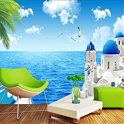 XLi-You 3D Views Of The Aegean Sea Sofa Bed In The Living Room Of The Ocean Wallpaper Murals.