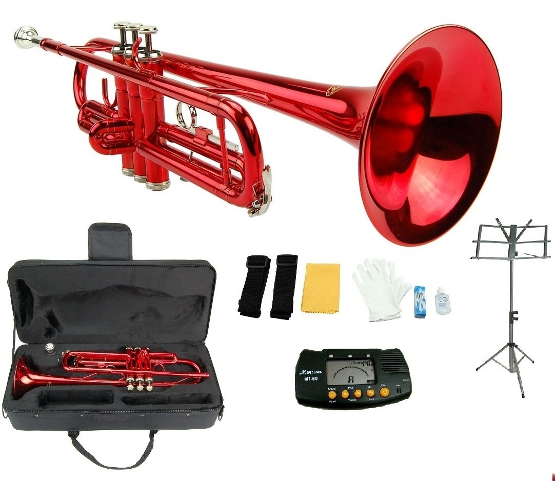 Merano B Flat Red / Silver Trumpet with Case+Mouth Piece+Valve Oil+Metro Tuner+Black Music Stand WD415RD
