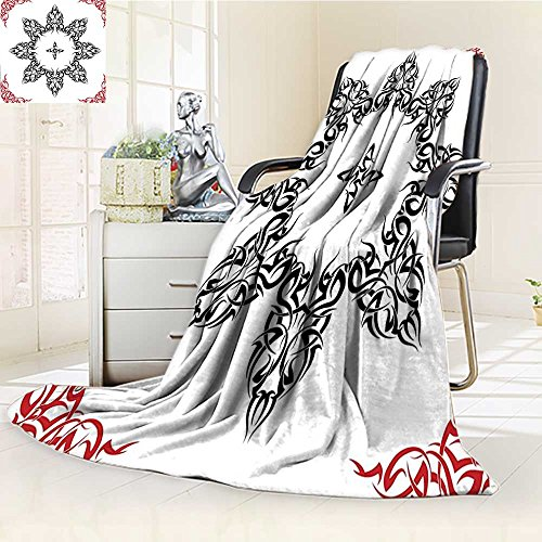 YOYI-HOME Digital Printing Duplex Printed Blanket Ethnic Tattoo Circular Vector Art Leaves Like Frame Modern Print Black White and Ruby Summer Quilt Comforter /W47 x H79]()