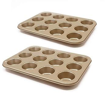 Se pueden utilizar 2 piezas de 12 bandejas redondas para hornear Recubrimiento antiadherente de acero al