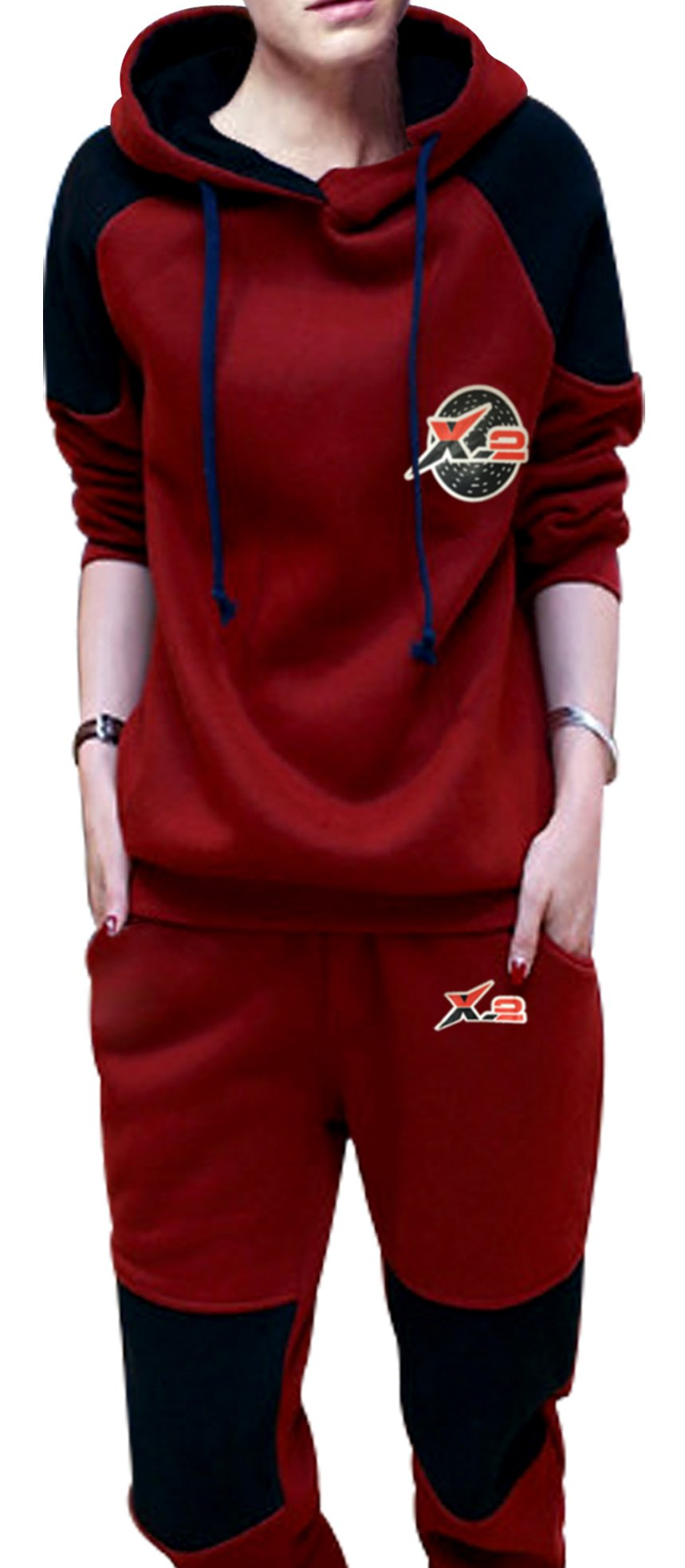 X-2 Women Athletic Fleece Tracksuit Sweatsuit Activewear Navy-Panel Maroon XXL by X-2 (Image #2)