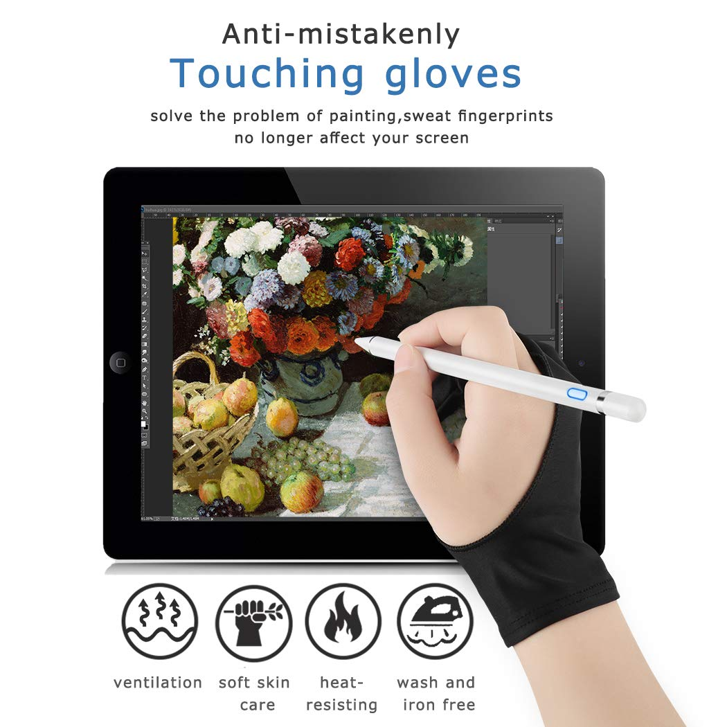 Stylus Pen for Touch Screens,ABsuper Rechargeable Active Electronic Pencil Compatible with iPad/ipad Pro/iPhone and Most Tablet with Anti-fouling Glove and Perfect for Writing,Drawing