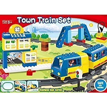 Motorized engine train set with sound Battery-Operated, Lego Duplo Compatible (83 Pcs)