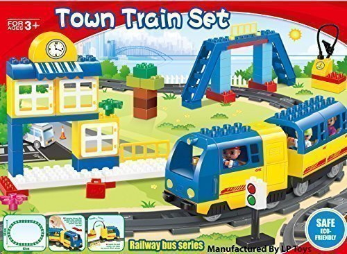Motorized Set (Motorized engine train set with sound Battery-Operated, Lego Duplo Compatible (83 Pcs))